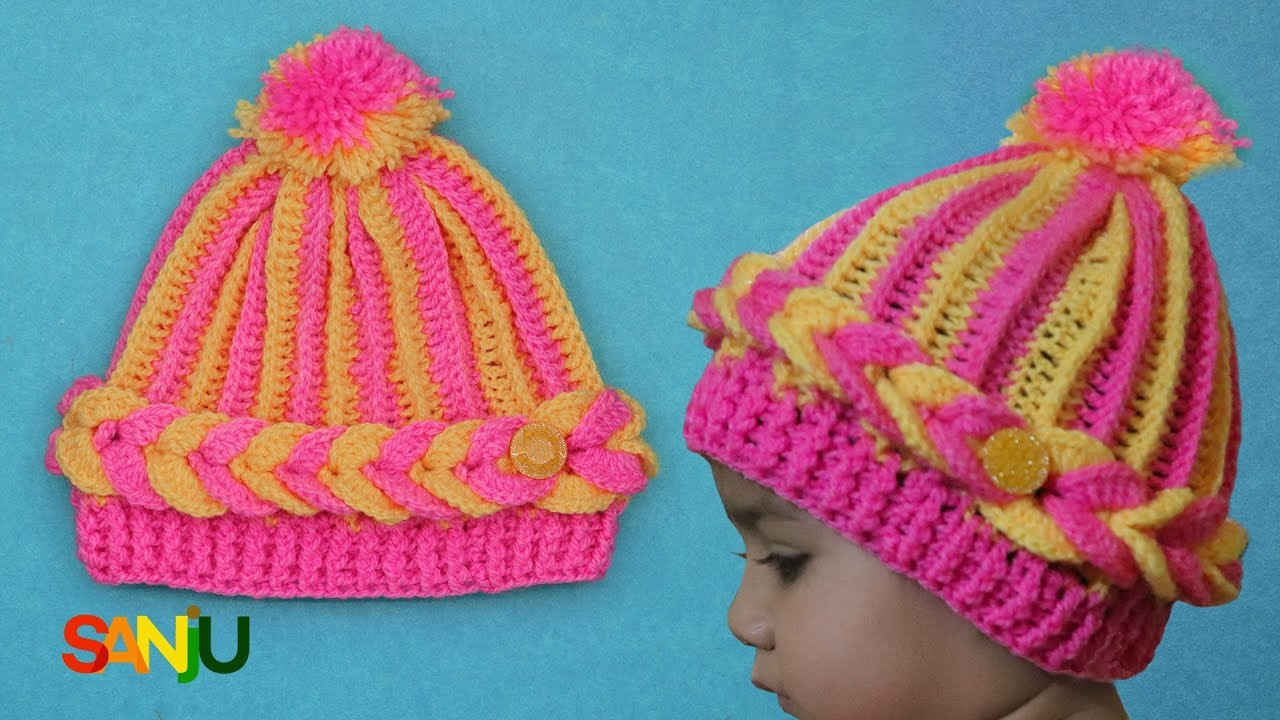 Two color crochet cap for baby - YouTube
