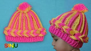 Two color crochet cap for baby