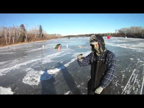 Ice Fishing St. Louis River near Superior, Wisconsin