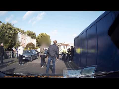 19/08/2017 Bristol City vs Millwall. Police and fans clash outside the stadium