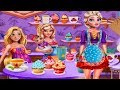 Princesses Tea Afternoon-Elsa, Rapunzel And Baby Barbie-Shopping Dress Up And Decorate Games.