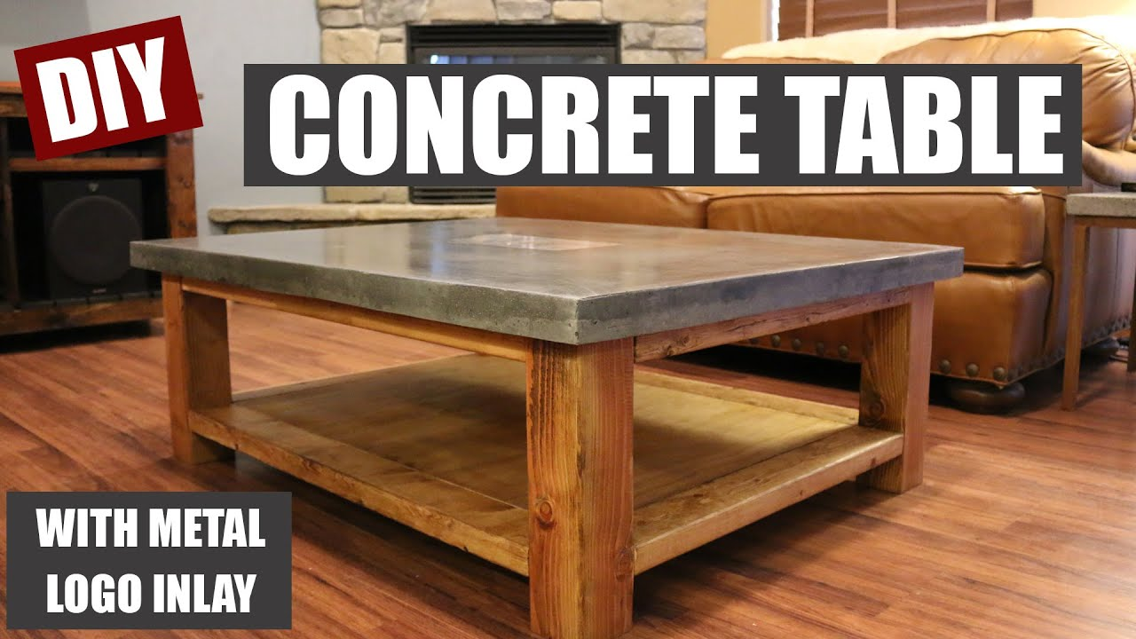 How To Make A Concrete Coffee Table And How To Embed A Metal Design In Concrete Youtube