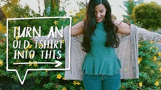 DIY UPCYCLE T-SHIRTS | Turn T-SHIRT into a PEPLUM TOP | Sewing Project   ✨Alejandra's Styles