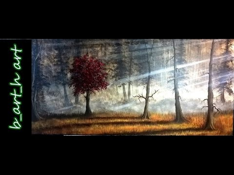 Malen mit Acrylfarben – The red tree in a dark forest