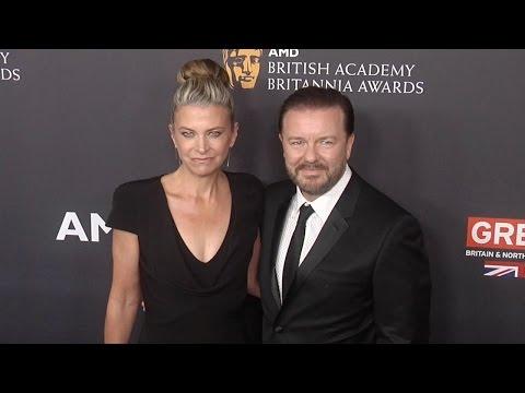 Ricky Gervais & Jane Fallon Walk The Carpet 2016 Britannia Awards