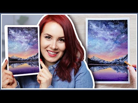 How to Paint a Galaxy Sky Scenery with Acrylic Paint