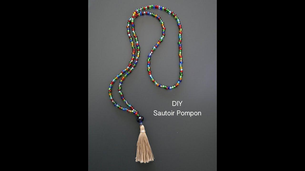 Diy Sautoir Pompon By Rose Philange Youtube