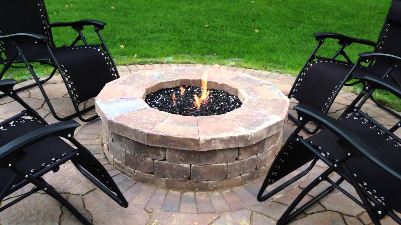 Gas Fire Pit With Fire Glass In Mokena Il By Archadeck Of