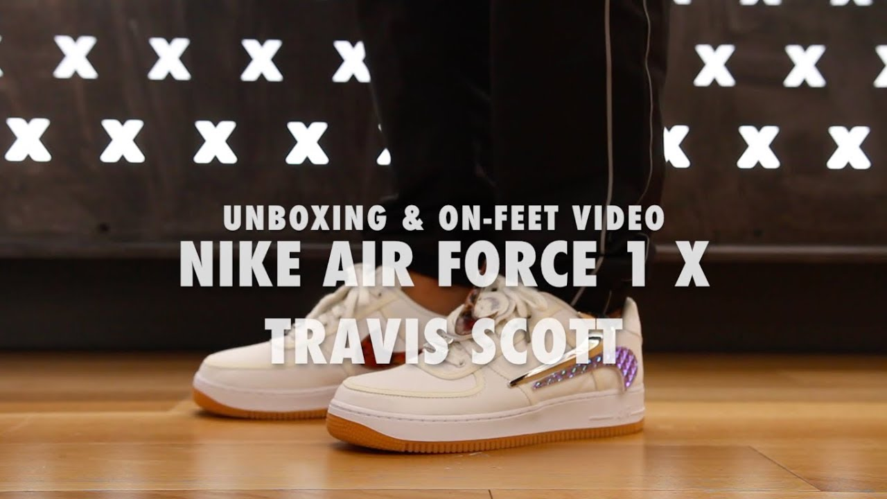 ba77e6a1f2 Air Force 1 X Travis Scott Unboxing & On feet Video at Exclucity ...
