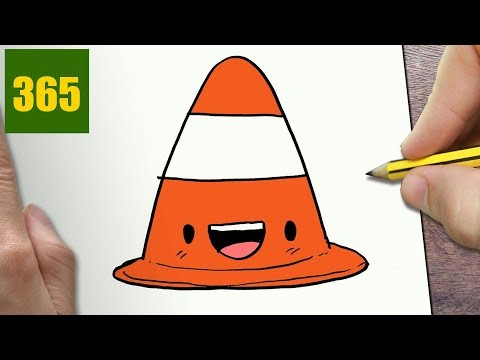 HOW TO DRAW A TRAFFIC CONE CUTE, Easy step by step drawing lessons for kids