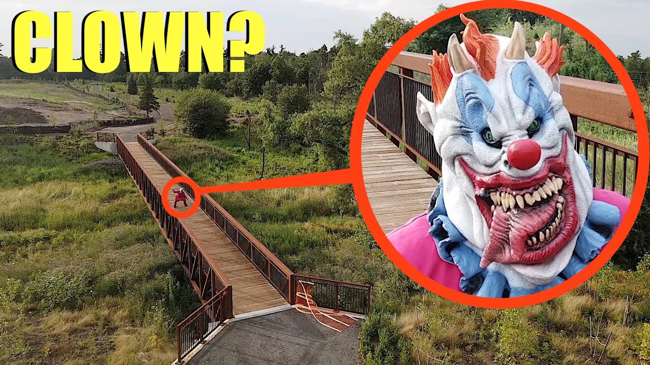Drone catches Boss Clown at this Clown infested Bridge (He was waiting for people to try to cross)