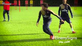 Mohamed Elneny trains with his new Arsenal team-mates
