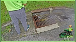 Pressure Washing The Filthy Storm Drain (Sewer Drain) - Satisfying!