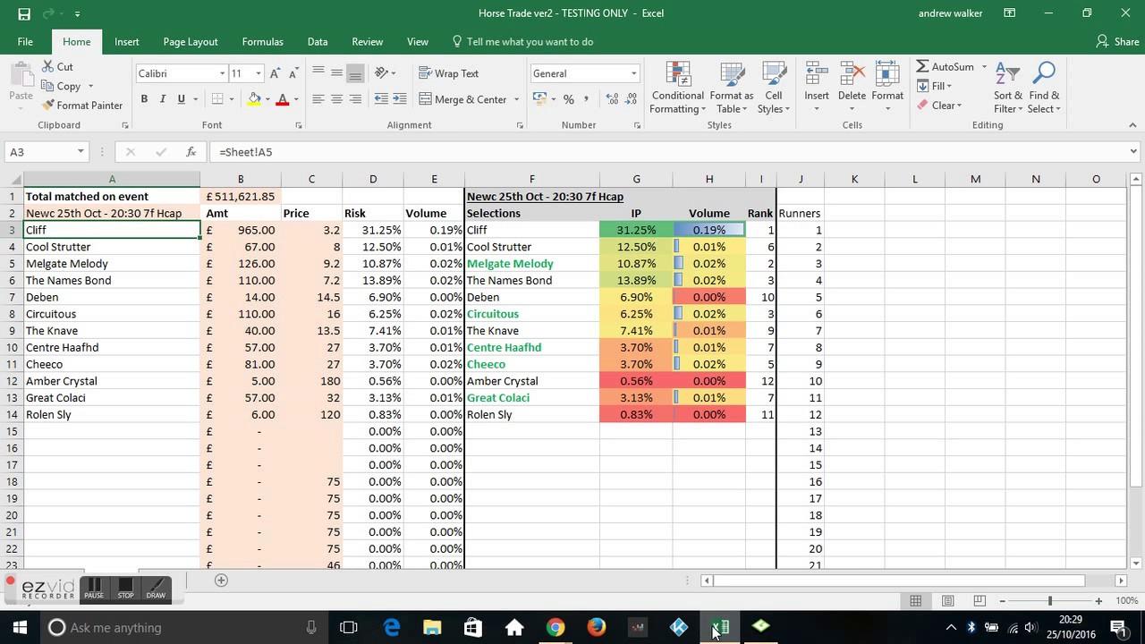 Betfair Trading Signals Horse Racing Spreadsheet Youtube