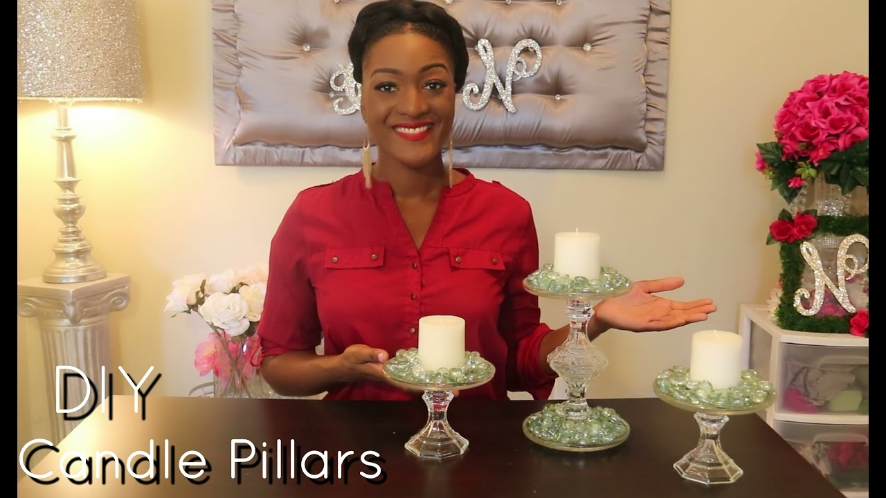 Diy dollar tree tier candle pillars candle holders for Bathroom decor dollar tree