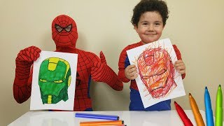 Superhero 3 Marker Challenge with Yusuf and Spiderman | Çocuk Oyun Videoları.
