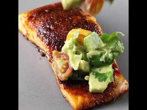 Chili Rubbed Salmon with Avocado Salsa