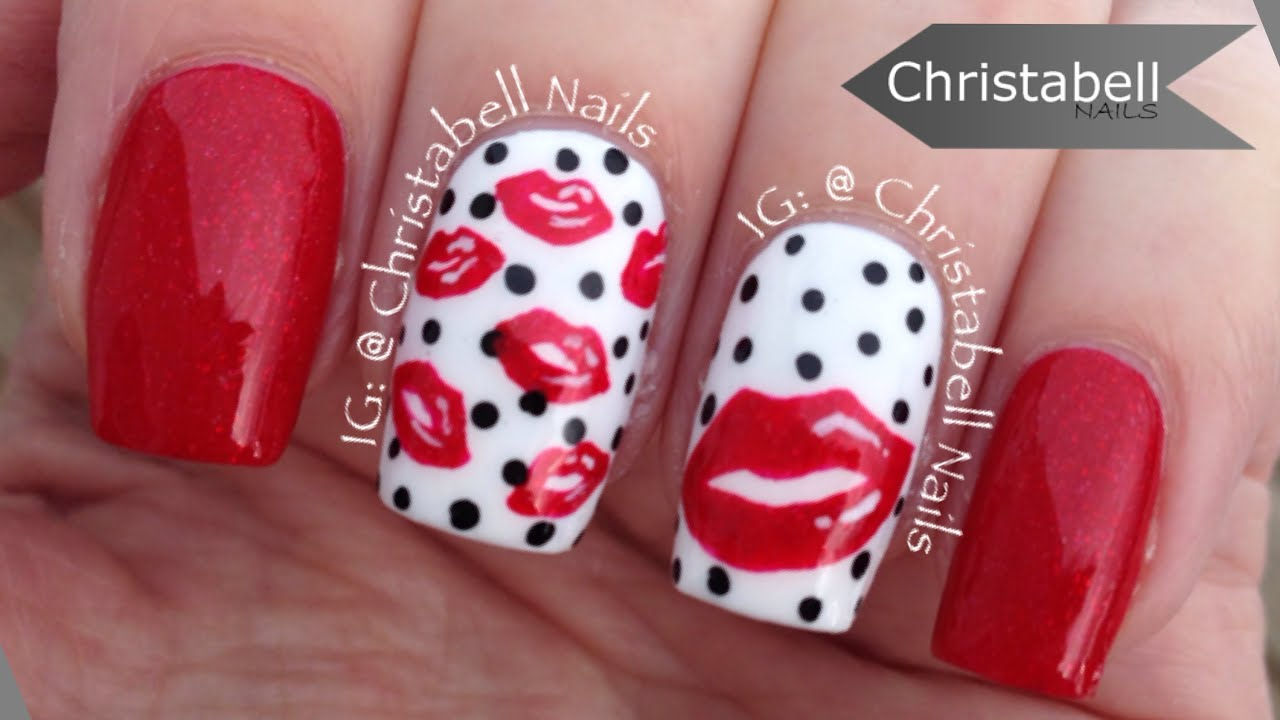 ChristabellNails Valentine's Lips Nail Art Tutorial - YouTube