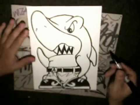 How to draw a shark character cholo shark by wizard