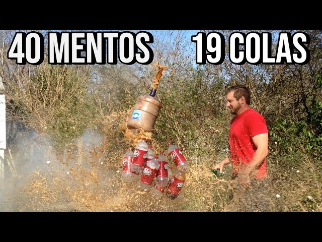 19 liters of Dr Pepper and 40 Mentos
