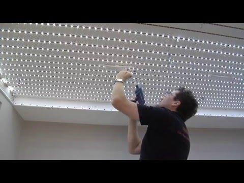 монтаж тканевого потолка Descor с подсветкой