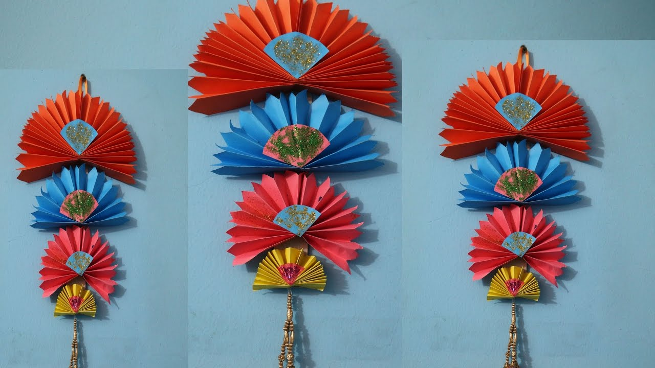 Wall Hanging diy easy wall hanging craft ideas using colour paper | decorating