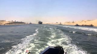 اعظم مشهد فى تاريخ  المصريين لحظة عبور أول سفية فى قناة السويس الجديدة 25يوليو2015