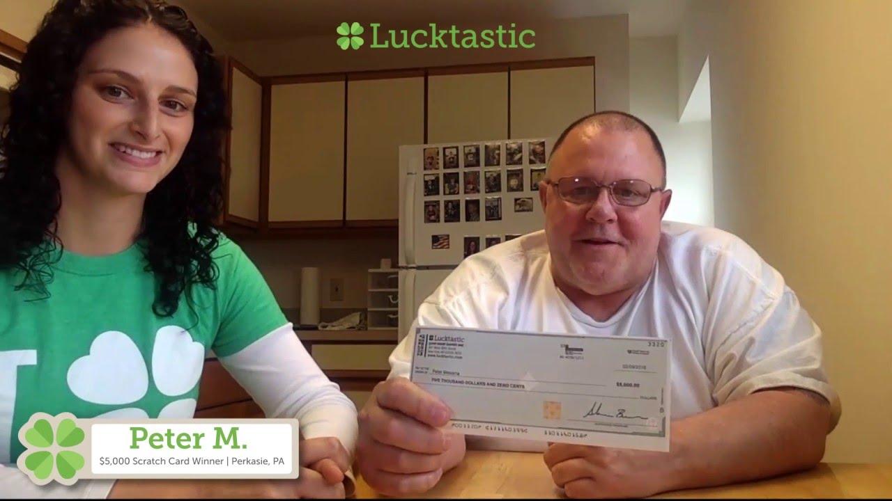 $5,000 Scratch Card Winner Peter M , on Lucktastic's LuckCam