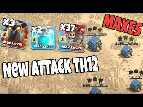 Maxes Lava Lvl5 Clone Spell Lvl5 Balloon Lvl8 New TH12 Attack | Best Air Army 3 Star TH12 On Fire
