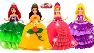 Disney Princesses Play Doh Sparkle Dresses for Frozen Elsa & Anna, Ariel, Belle DIY