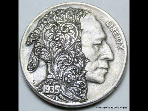 Buffalo Nickel Hand Engraved Scrollhead