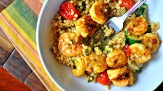 North African Spiced Shrimp + Roasted Summer Vegetable Couscous