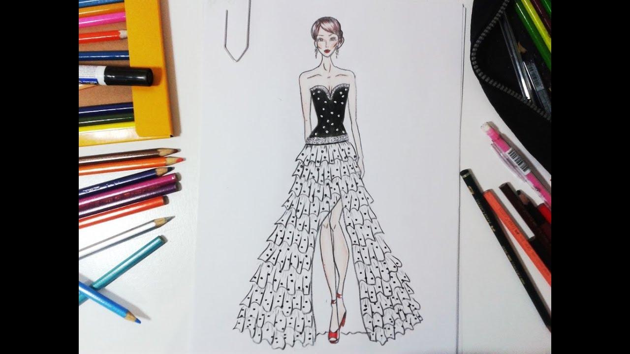 Ideias Xiques ~ Desenho de Moda Vestido de Festa YouTube