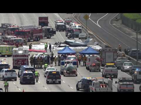 Plane crashed on 405 Freeway in Santa Ana, California