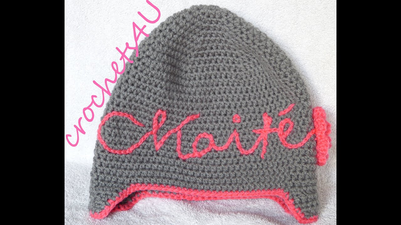 crochet name on hat - YouTube