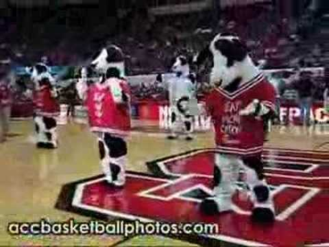 Dancing Chic-fil-A Cows at the RBC Center at halftime