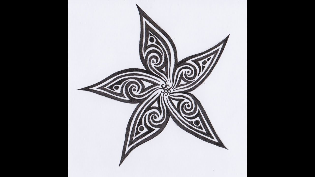 dessin encre fleur tribal tribal flower youtube. Black Bedroom Furniture Sets. Home Design Ideas