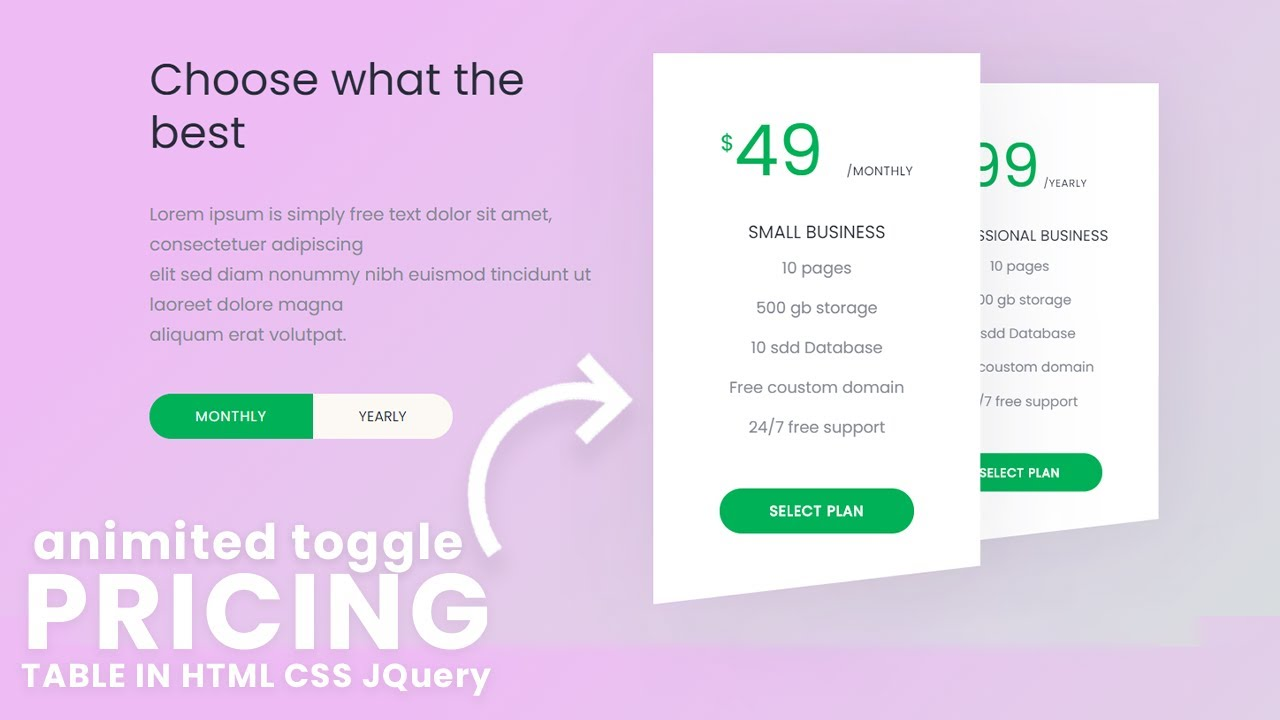 How to make Animated Toggle Effect with Website Pricing Table UI Design using HTML, CSS, jQuery