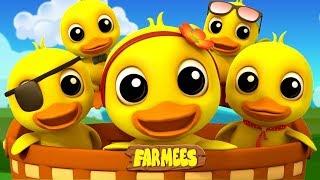 Five Little Ducks  Nursery Rhymes For Kids  Kindergarten Songs  Farmees