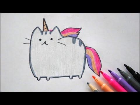 Einhorn Pusheen Katze Zeichnen How To Draw A Unicorn