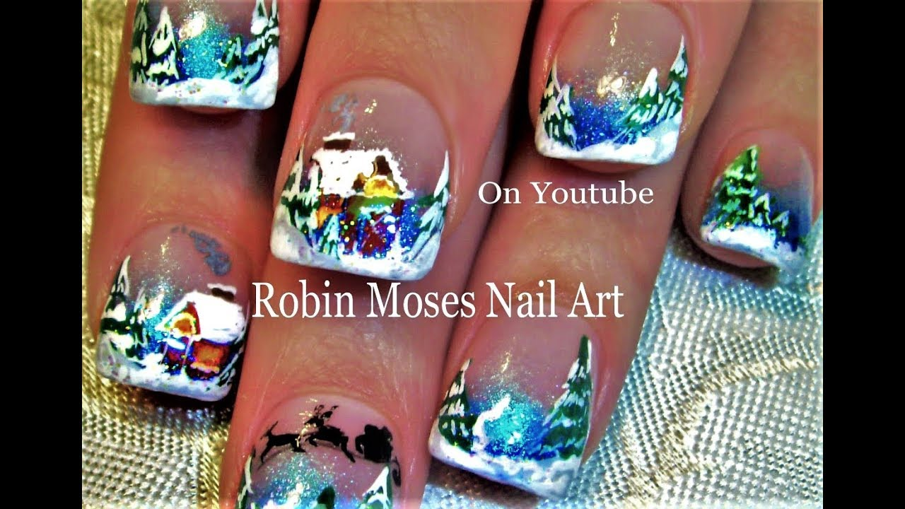 Nail Art | Winter Wonderland Holiday Nails | Xmas Design tutorial ...