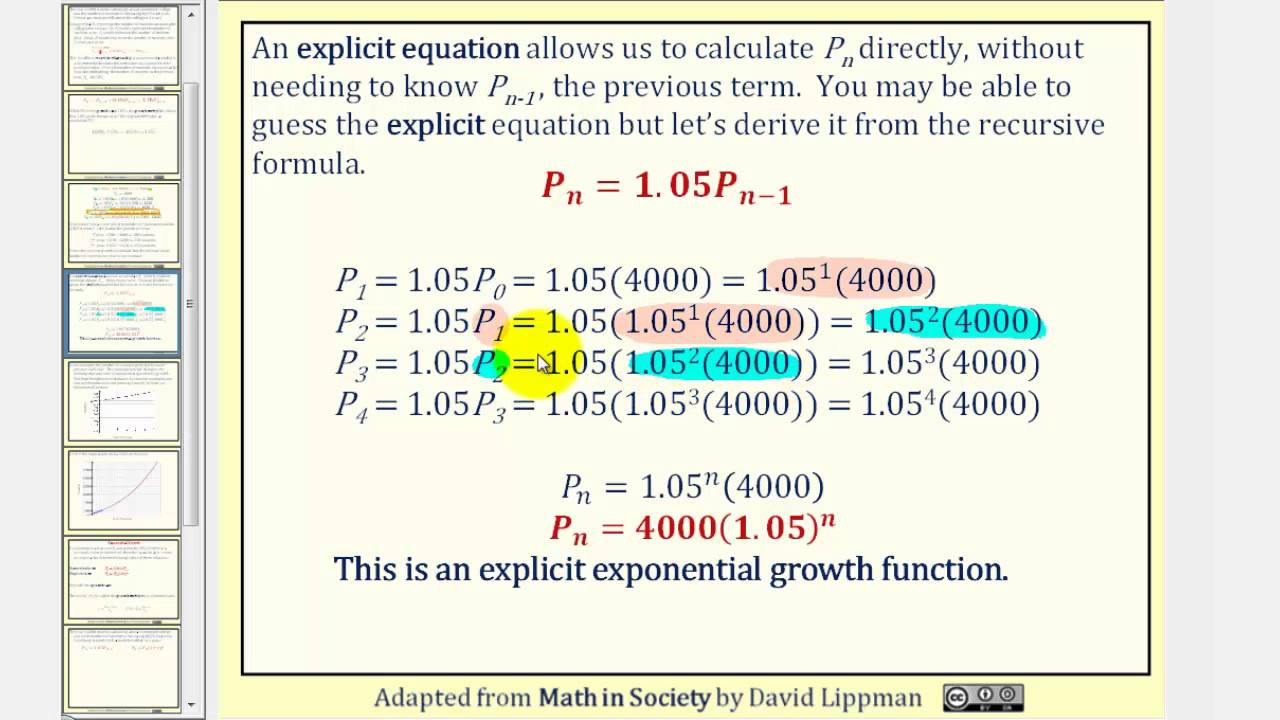 how to make an exponential equation from a table