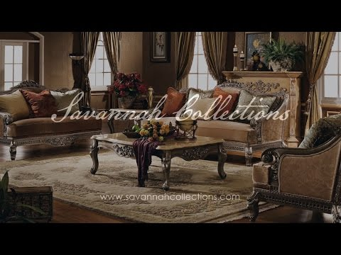 Victorian Living Room Collection in Antique Silver by Savannah Collections - Century Furniture