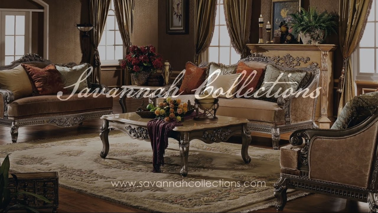 Victorian Living Room Collection In Antique Silver By Savannah Collections    Century Furniture Part 90