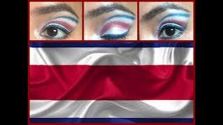 Makeup Tutorial Costa Rica flag/Maquillaje bandera Costa Rica/Maquillaje Independencia Costa Rica