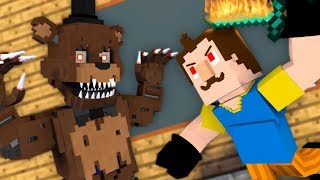 Monster School : Hello Neighbor VS FNAF CHALLENGE  - Minecraft Animation
