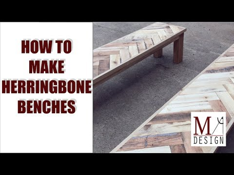 Build Pallet Wood Herringbone Benches // Woodworking How To