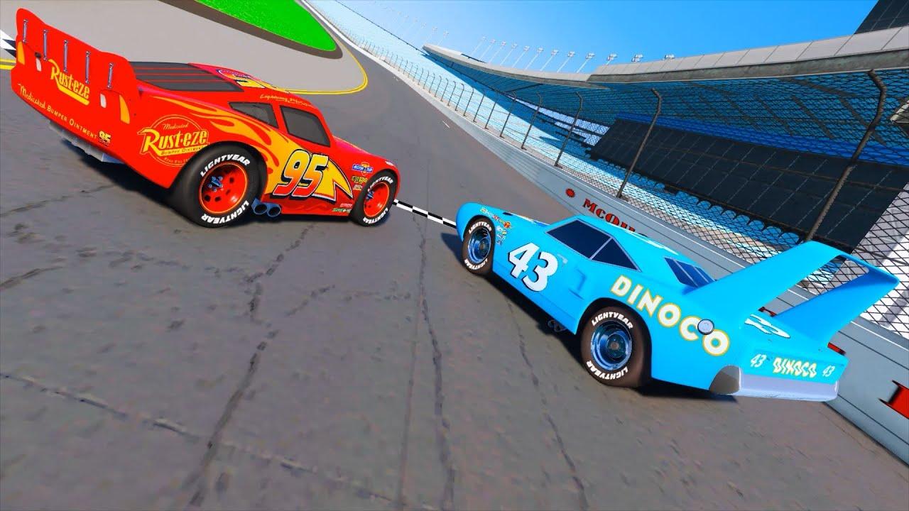 Race Cars 2 Daytona Lightning Mcqueen Vs The King Dinoco And Cars