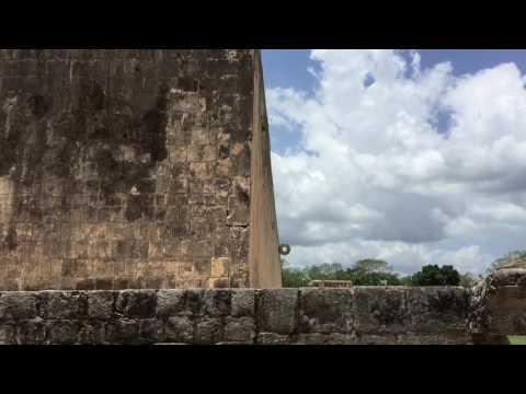Ball Court in Chichen Itza Maya ruins, mayan ball game played here, human sacrifice of best player