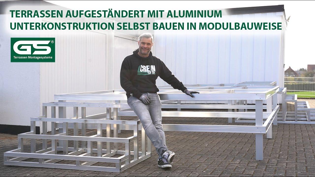 Aufgeständerte Terrassen mit Treppen aus Aluminium Unterkonstruktion bauen